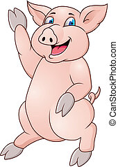 Funny pig - Vector illustration of funny pig cartoon