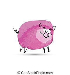 Funny pig. Watercolor sketch for your design