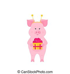 Funny pig with Gift box at a party. Greeting card design.