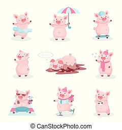 Funny pigs activity set, cute piglets cartoon characters in different situations vector Illustration on a white background