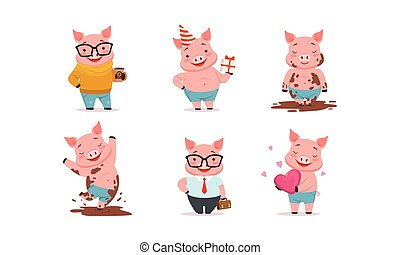 Funny Pigs Characters Drinking Coffee and Holding Gift Box Vector Set
