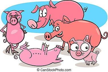 funny pigs farm animal cartoon characters