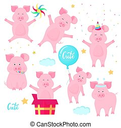 Funny pigs having fun. Cute piglets celebrate their birthday. Boars at a party.