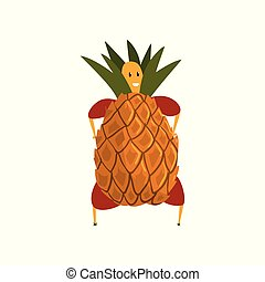 Funny pineapple cartoon character, man in fruit costume vector Illustration on a white background