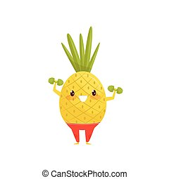 Funny pineapple exercising with dumbbells, sportive vegetable cartoon character doing fitness exercise vector Illustration on a white background