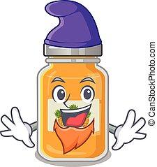 Funny pineapple jam cartoon mascot performed as an Elf
