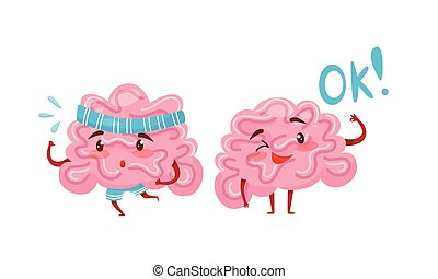 Funny Pink Brain with Arms and Legs Running and Showing Ok Gesture Vector Set