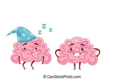 Funny Pink Brain with Arms and Legs Sleeping and Smiling Vector Set