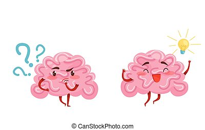 Funny Pink Brain with Arms and Legs Thinking and Finding Idea or Solution Vector Set