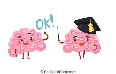Funny Pink Brain with Arms and Legs Wearing Graduation Hat and Showing Ok Gesture Vector Set