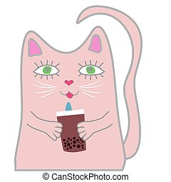 Funny pink cat holds a drink in his paws. Cute girl concept
