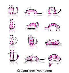 Funny pink cats collection for your design