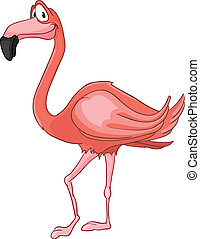 Flamingo - Funny Pink Flamingo Isolated on white Background....