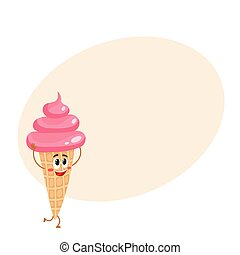 Funny pink ice cream character in wafer cone