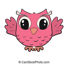 Funny pink owl