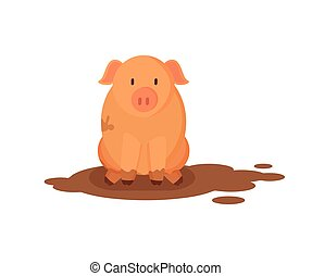 Pink pig or piglet sitting in dirty puddle flat vector illustration isolated on white. Domestic farm animal colored poster in funny cartoon style.