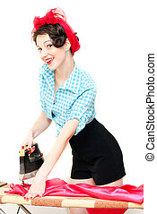 Funny pinup woman holding iron - Funny beautiful pinup woman...