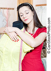 Funny pinup woman with mannequin - Funny young pinup woman ...
