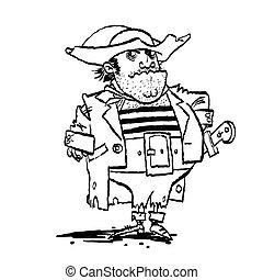 Funny pirate captain, cartoon style vector illustration....
