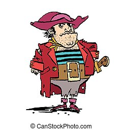 Funny pirate captain, cartoon style vector illustration