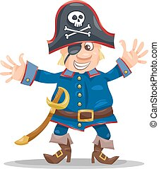 funny pirate cartoon illustration - Cartoon Illustration of...