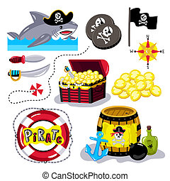 Funny pirate elements isolated on white background - Pirate...