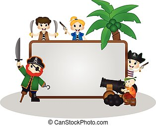 Funny Pirates behind white board