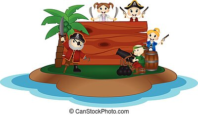 Funny Pirates behind wooden board