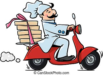 Funny pizza chef on scooter. Pizza delivery