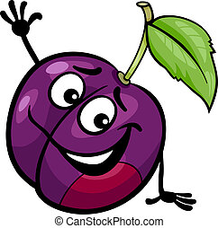 Cartoon Illustration of Funny Plum Fruit Food Comic Character