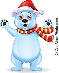 Funny polar bear cartoon - Vector illustration of funny...
