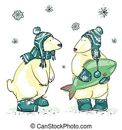 Hand drawn Christmas background with two cute polar bears