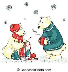 Funny polar bears - Hand drawn Christmas background with two...