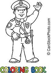 Funny policeman. Coloring book