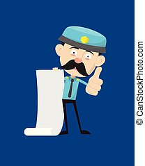 Funny Policeman Cop - Holding a Paper Scroll and Showing Thumbs Up