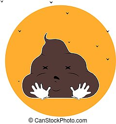 funny poop cartoon character illustration with flies