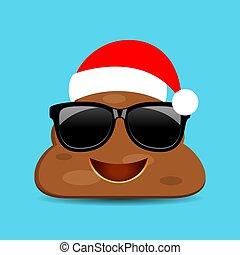 Funny poop emoji in Christmas hat