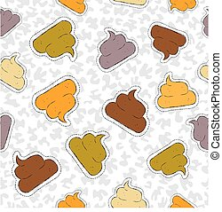 Funny poop hand drawn patch icon seamless pattern
