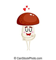 Funny porcini mushroom character hugging itself, symbol of love