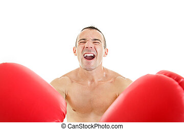 happy man with red boxing gloves in front of the camera