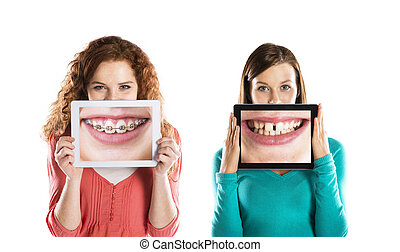 Funny portraits - Funny studio portraits with tablet on ...