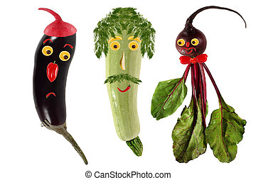Funny portraits made ??of beets, eggplant and  zucchini