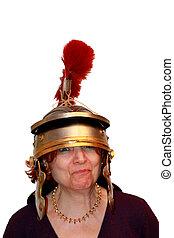 Funny Portraits - Woman With Roman Helmet