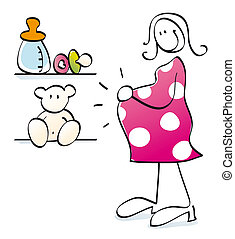 Funny pregnant mother - young woman is having a baby