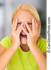 funny preteen girl closeup - funny freckled preteen girl...