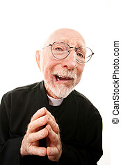 Funny priest with folded hands and glasses