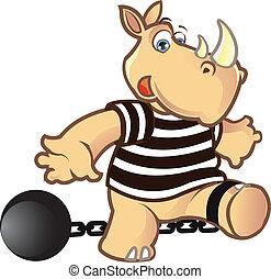 Prisoner Rhino - Funny Prisoner Rhino Chained to a Ball