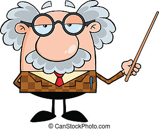 Funny Professor Holding A Pointer Cartoon Character