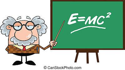 Funny Professor With Pointer Presenting Einstein Formula