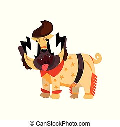 Funny pug dog character dressed as a Rock Star vector Illustration on a white background